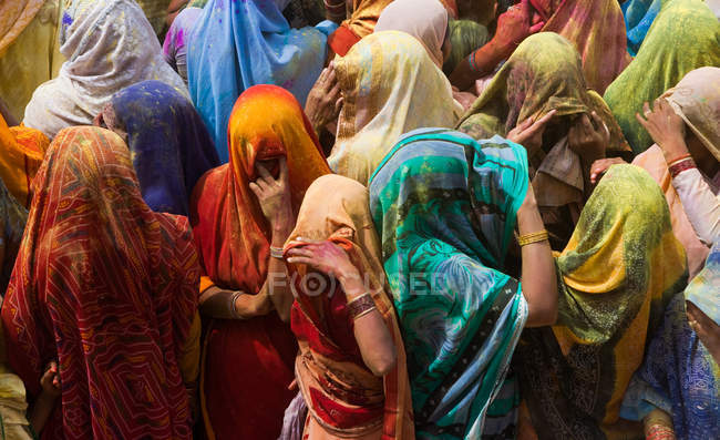 Colorful crowd of people, Holi Festival — Stock Photo