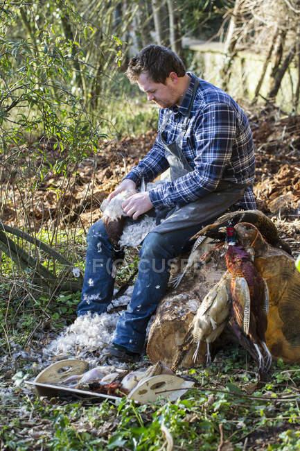 Man sitting plucking feathers from bird — Stock Photo
