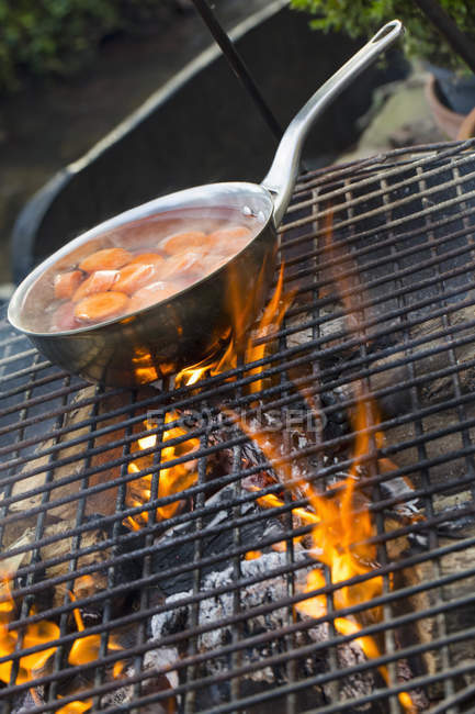 Small pan over an open fire. — Stock Photo