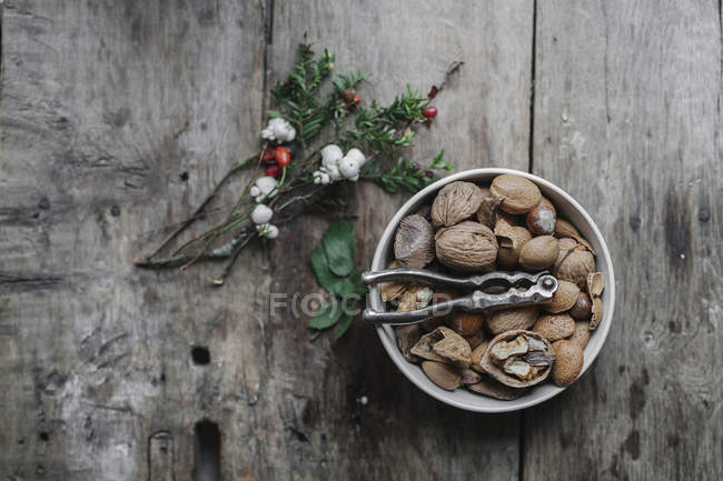 Dish of nuts and nut cracker — Stock Photo