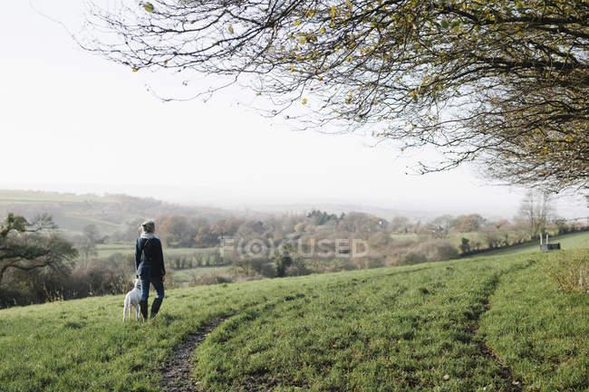 Femme marchant avec un chien — Photo de stock