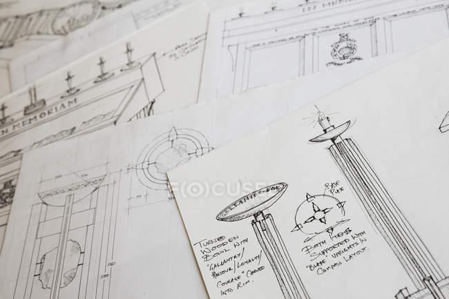 Dessins de conception pour un bol en bois sculpté — Photo de stock