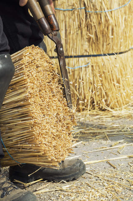 Thatcher cutting a yelm of straw — Stock Photo