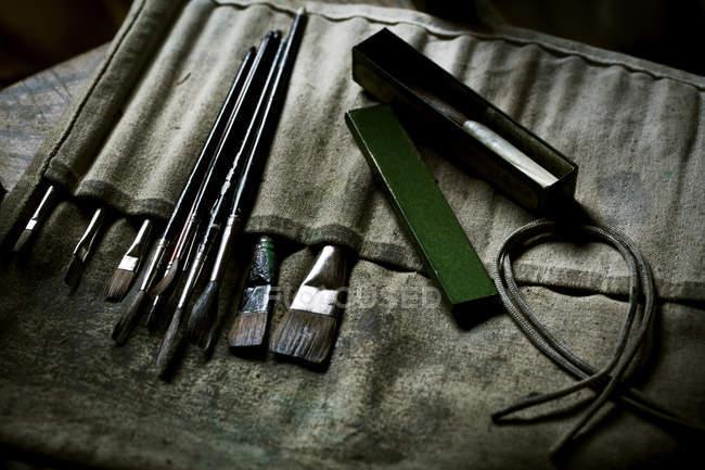 Pinsel und Handwerkzeuge. — Stockfoto