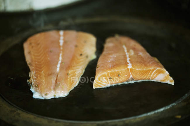 Fish fillets being fried on a stove. — Stock Photo