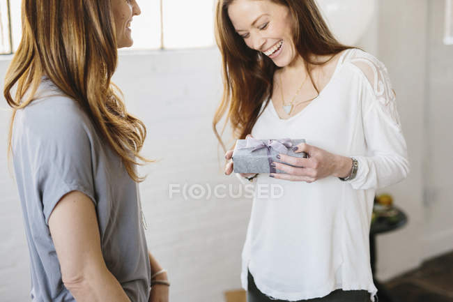 Women holding a wrapped gift. — Stock Photo