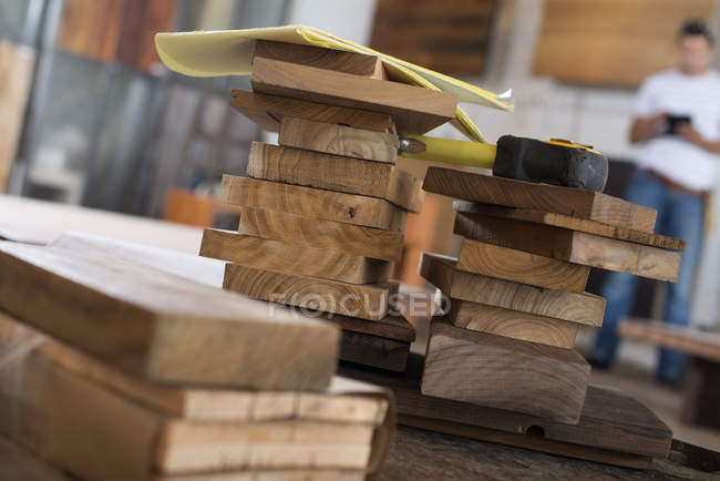 Recycled and reclaimed lumbe — Stock Photo