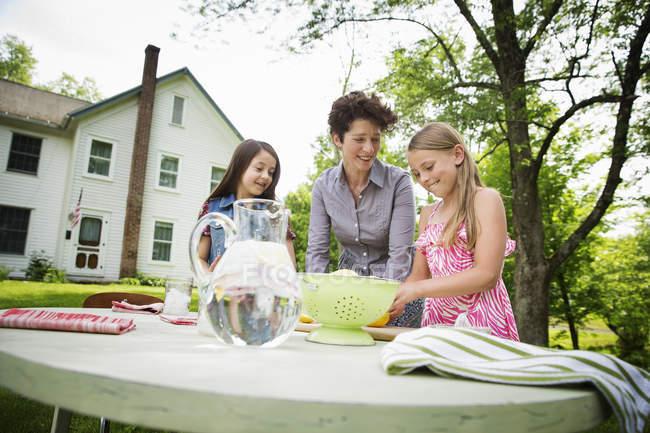 Femme et ses deux enfants, fabrication de limonade — Photo de stock