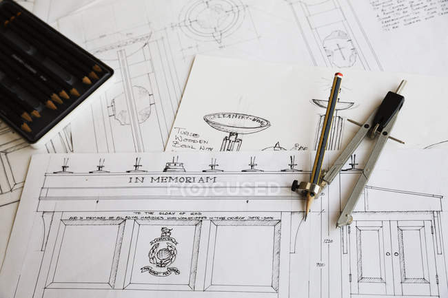 Design drawings for furniture — Stock Photo