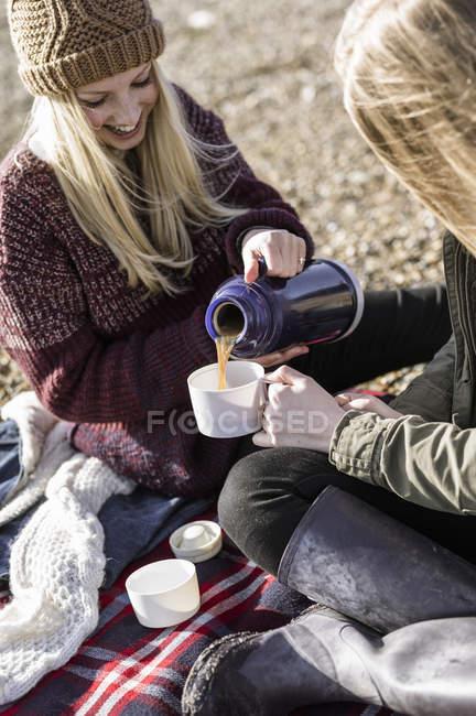 Девушки проводят зимний пикник на пляже — стоковое фото