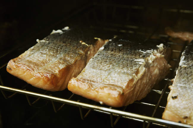 Filetes de pescado en una parrilla - foto de stock
