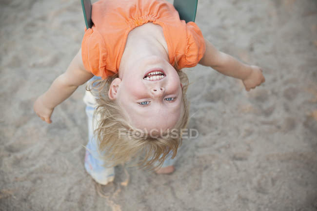 Child playing outdoors. — Stock Photo