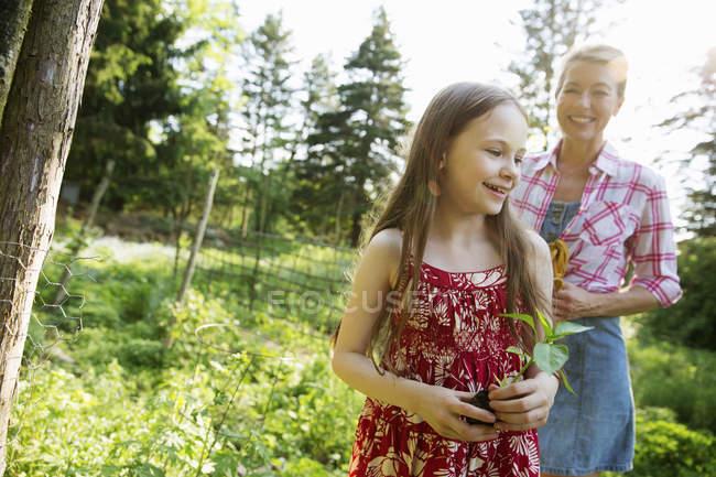 Girl holding seedling plant — Stock Photo