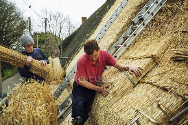 Two men thatching a roof — Stock Photo