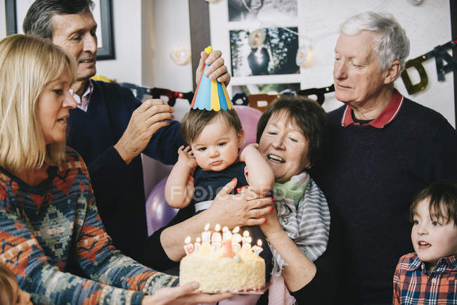 One year old girl's birthday party. — Stock Photo