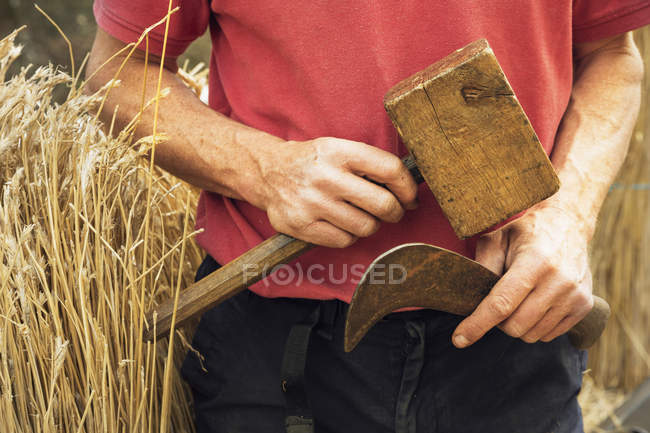 Thatcher holding mallet and hook — Stock Photo