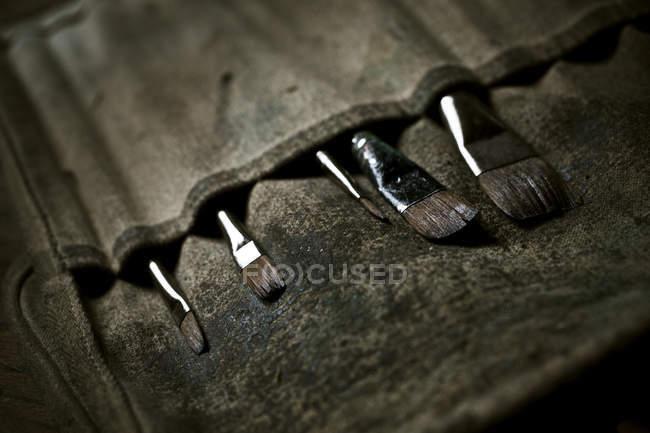 Pinsel im Pinsel-Portemonnaie. — Stockfoto