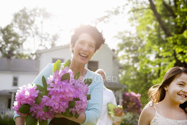 Summer family gathering at a farm. — Stock Photo