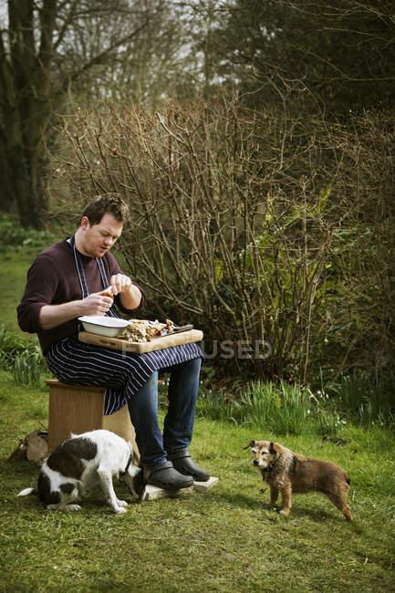 Chef seduto all'aperto con i cani — Foto stock