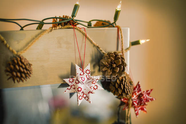 Christmas decorations and lights — Stock Photo