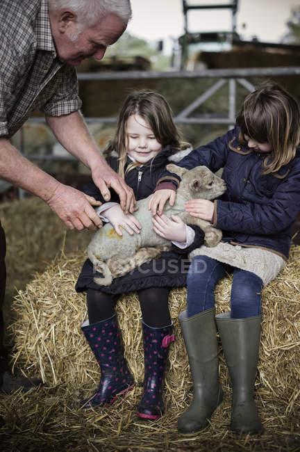 Agricoltore e ragazze con agnello appena nato — Foto stock