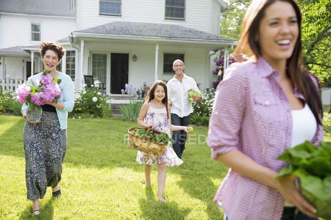 Летом семья сбора на ферме. — стоковое фото
