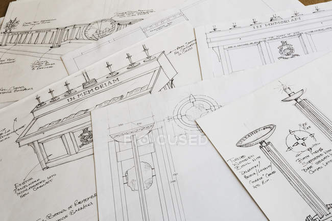 Design drawings for a carved wooden bowl — Stock Photo