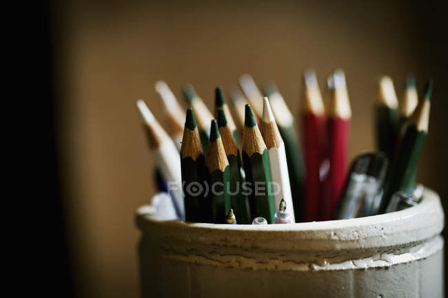 Pot of sharpened pencils — Stock Photo