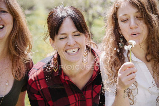 Women holding dandelion closk. — Stock Photo