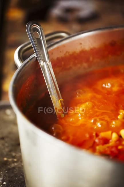 Горщик смачно суп — стокове фото