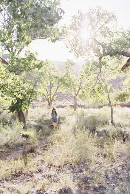 Woman walking through trees — Stock Photo