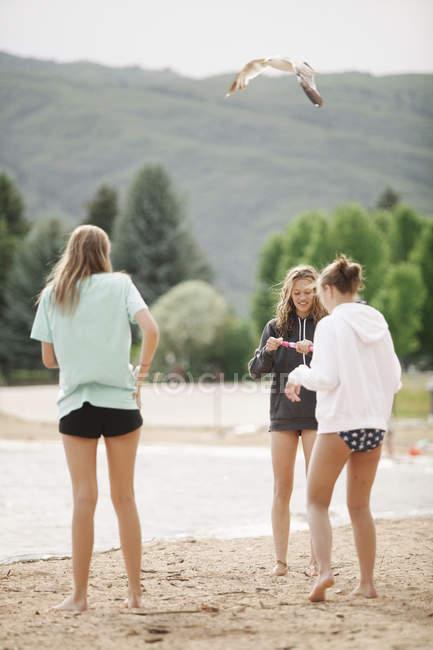 Meninas de pé na praia arenosa — Fotografia de Stock