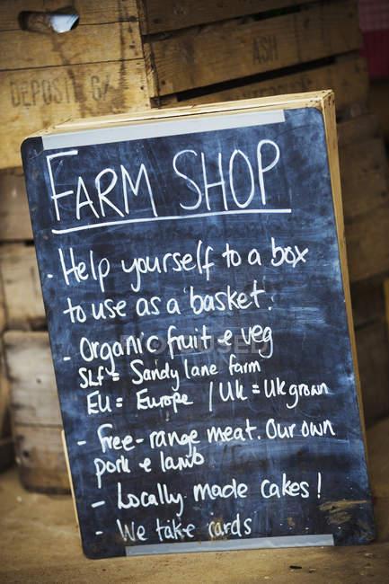 Lousa para loja de fazenda — Fotografia de Stock