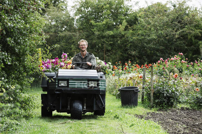 Man driving a small garden vehicle — Stock Photo