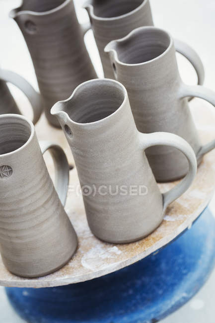 Hand thrown jugs — Stock Photo