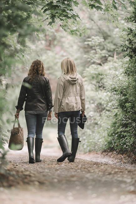 Mulheres caminhando ao longo de um caminho de país — Fotografia de Stock