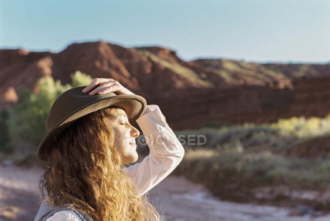 Woman wearing a hat — Stock Photo