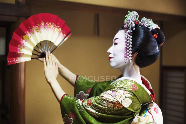 Женщина, одетая в традиционный гейшский стиль — стоковое фото