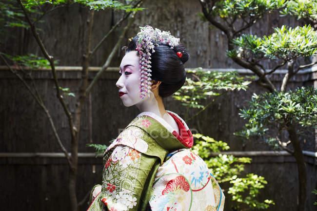 Woman wearing traditional kimono and obi — Stock Photo