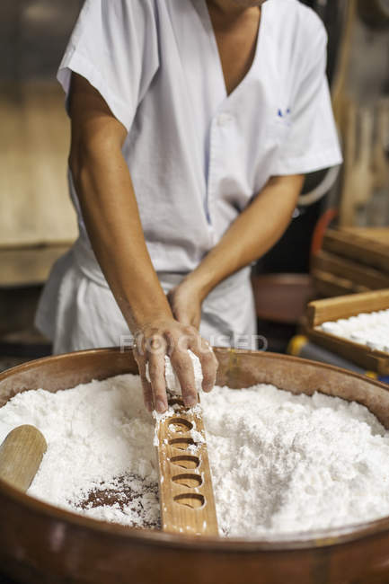 Small artisan producer of wagashi sweets. — Stock Photo