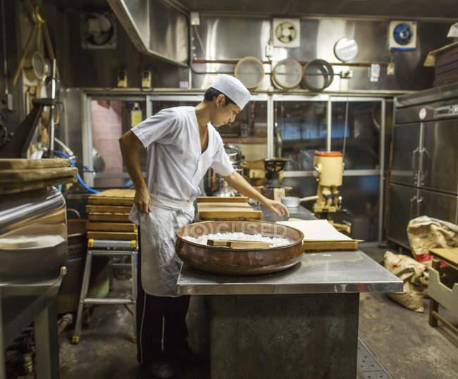 Small artisan producer of wagashi sweets. — Stock Photo