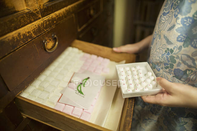 Small artisan producer of wagashi — Stock Photo