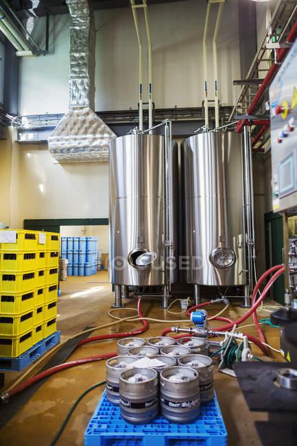 Metal beer tanks — Stock Photo