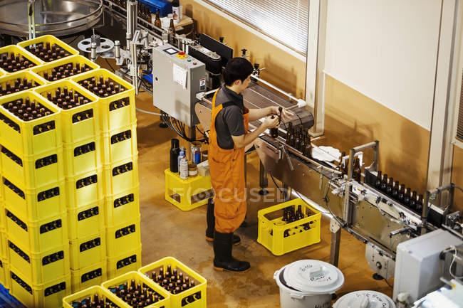 Trabalhador com garrafas de cerveja em uma cervejaria . — Fotografia de Stock
