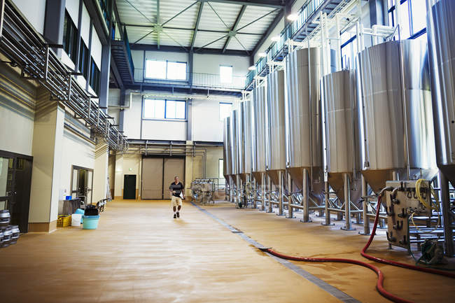 Interior view of a brewery — Stock Photo