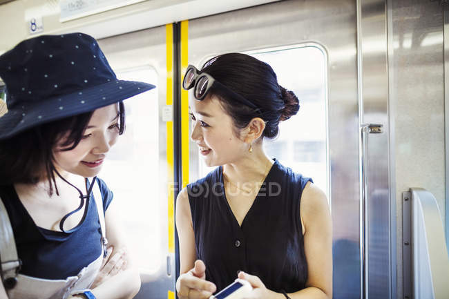 Women traveling on a train. — Stock Photo