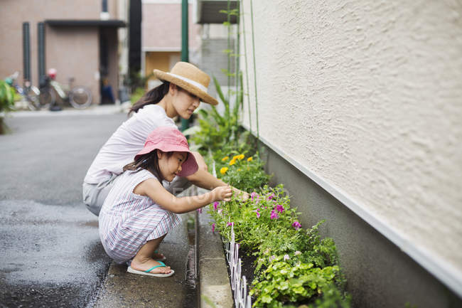 Woman and her daughter tending plants — Stock Photo