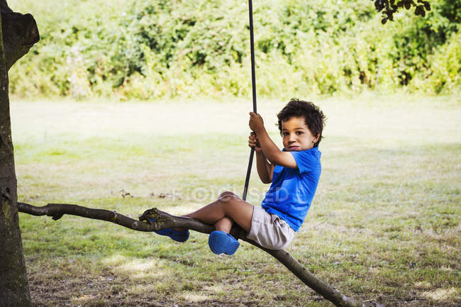 Boy sitting on a tree swing. — Stock Photo