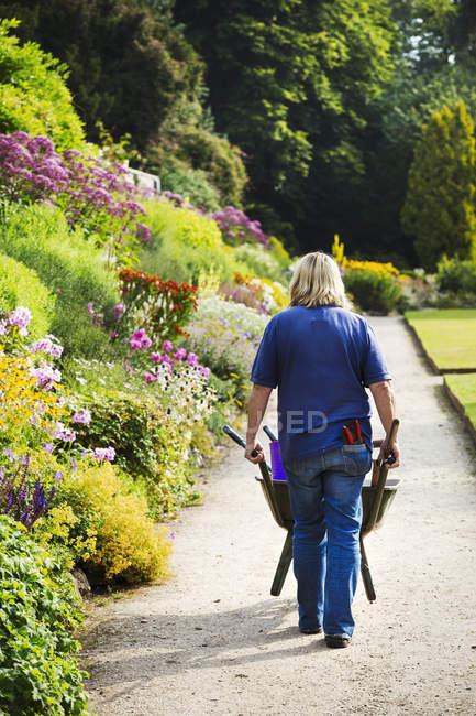 Садовник толкает тачку — стоковое фото