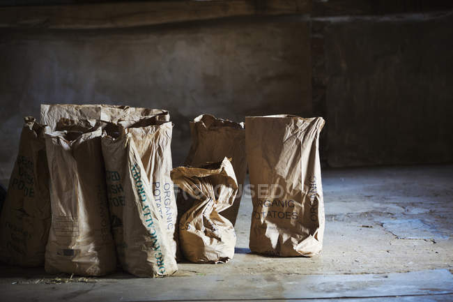 Sacos de batatas frescas — Fotografia de Stock